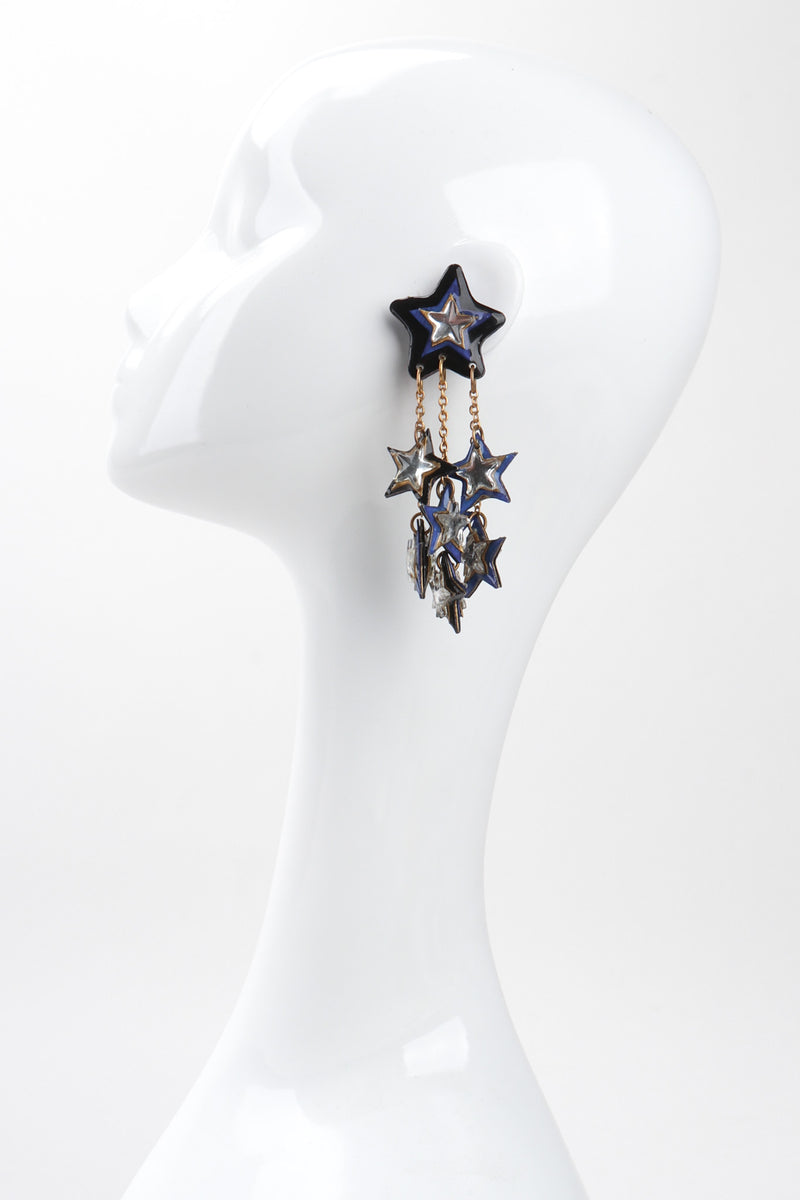 Recess Los Angeles Vintage Unsigned Milky Way Star Chandelier Clip Earrings
