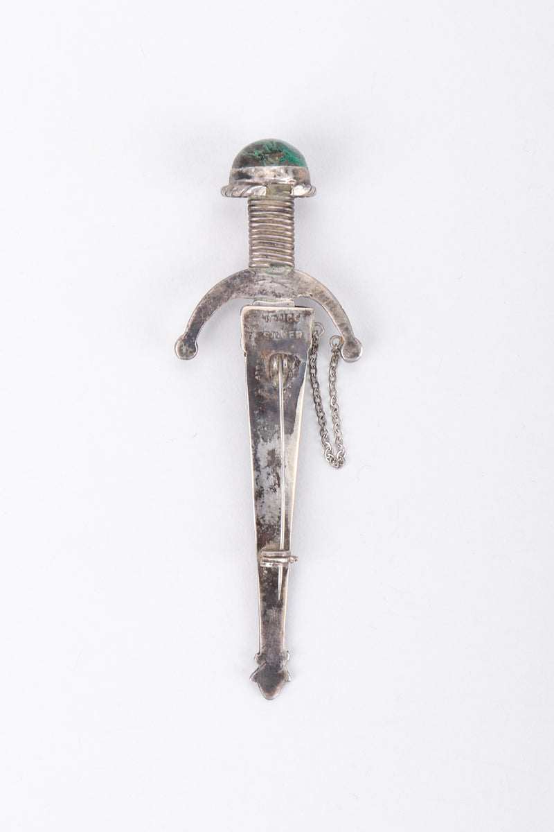 Recess Los Angeles Vintage Unsigned Sterling Silver Mexico Swashbuckling Sword Pin Brooch