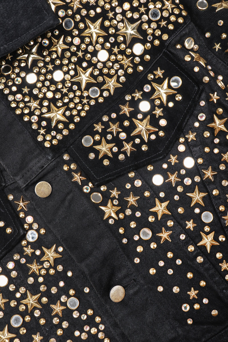 Recess Designer Consignment Vintage K.Baumann Embellished Studded Stardust Jean Jacket Los Angeles Resale