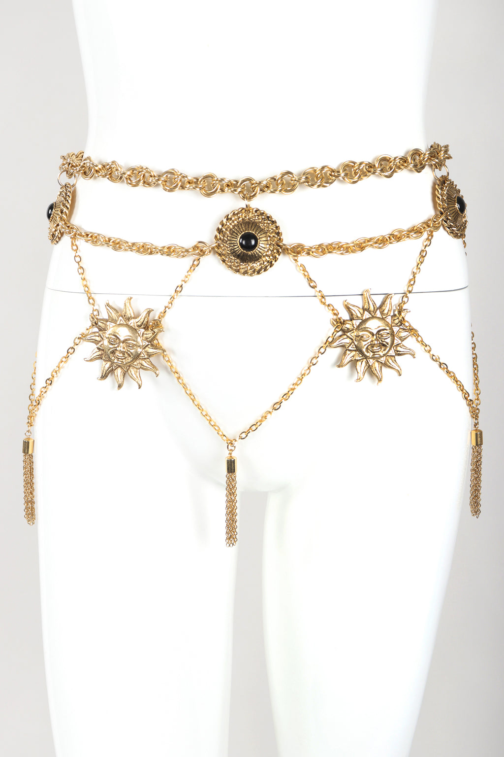 Recess Designer Consignment Vintage Celestial Tiered Waist Chain Belt Skirt Los Angeles resale