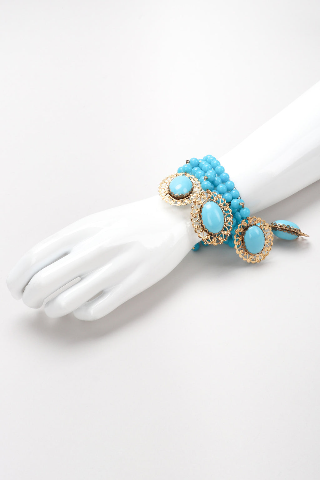 Recess Los Angeles Vintage Unsigned Turquoise Filigree Beaded Wire Wrap Bracelet