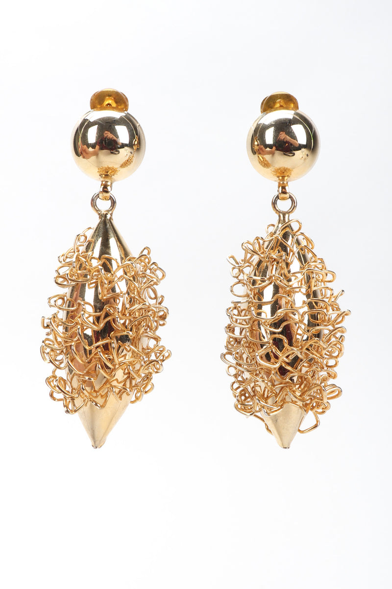 Recess Los Angeles Vintage Gold Wire Wrap Shell Drop Earrings