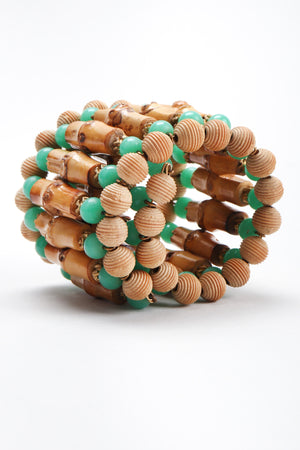 Recess Los Angeles Vintage William de Lillo Bamboo Jadeite Wire Wrap Cuff Bracelet