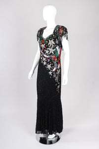 Recess Los Angeles Vintage Beaded Stars Backless Fringe Gown