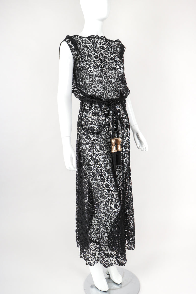 Recess Designer Consignment Vintage Sheer Embroidery Lace Over Dress Los Angeles Resale