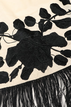 Recess Los Angeles Vintage Embroidered Black Roses Graphic Contrast Fringed Piano Shawl