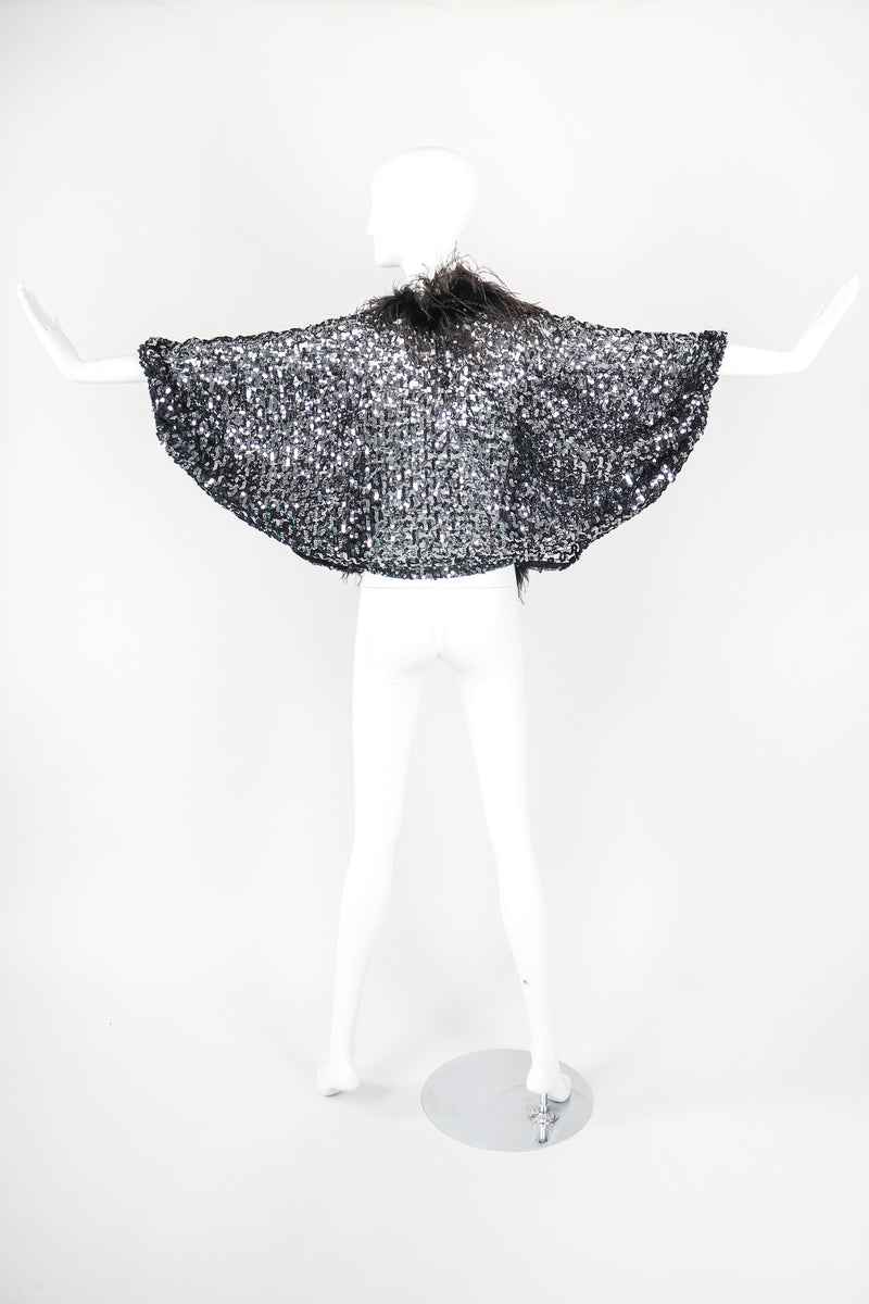 Recess Designer Consignment Vintage Sheer Sequin Ostrich Feather Batwing Jacket Los Angeles Resale