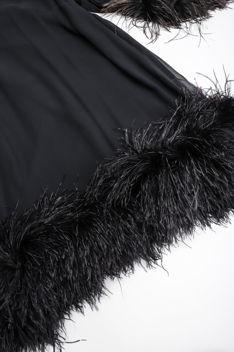 Recess Los Angeles Designer Consignment Vintage Ostrich Feather Silk Trapeze Swing Dress