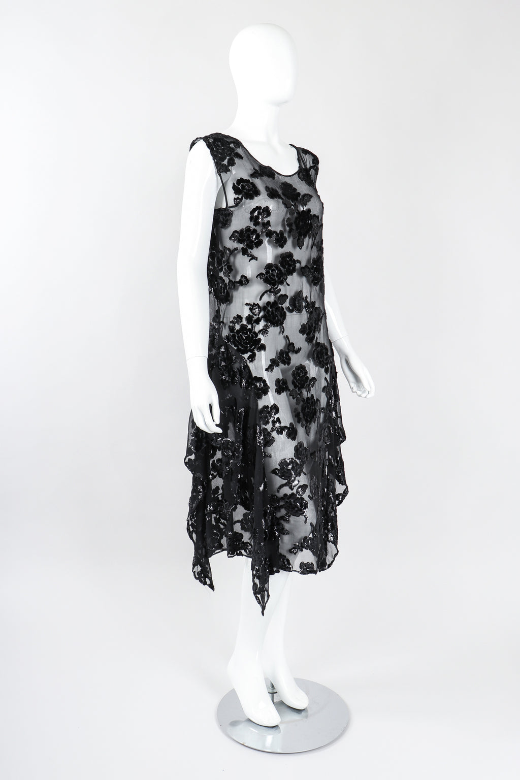 Recess Los Angeles Vintage Sheer Velvet Lamé Burnout Tank Dress