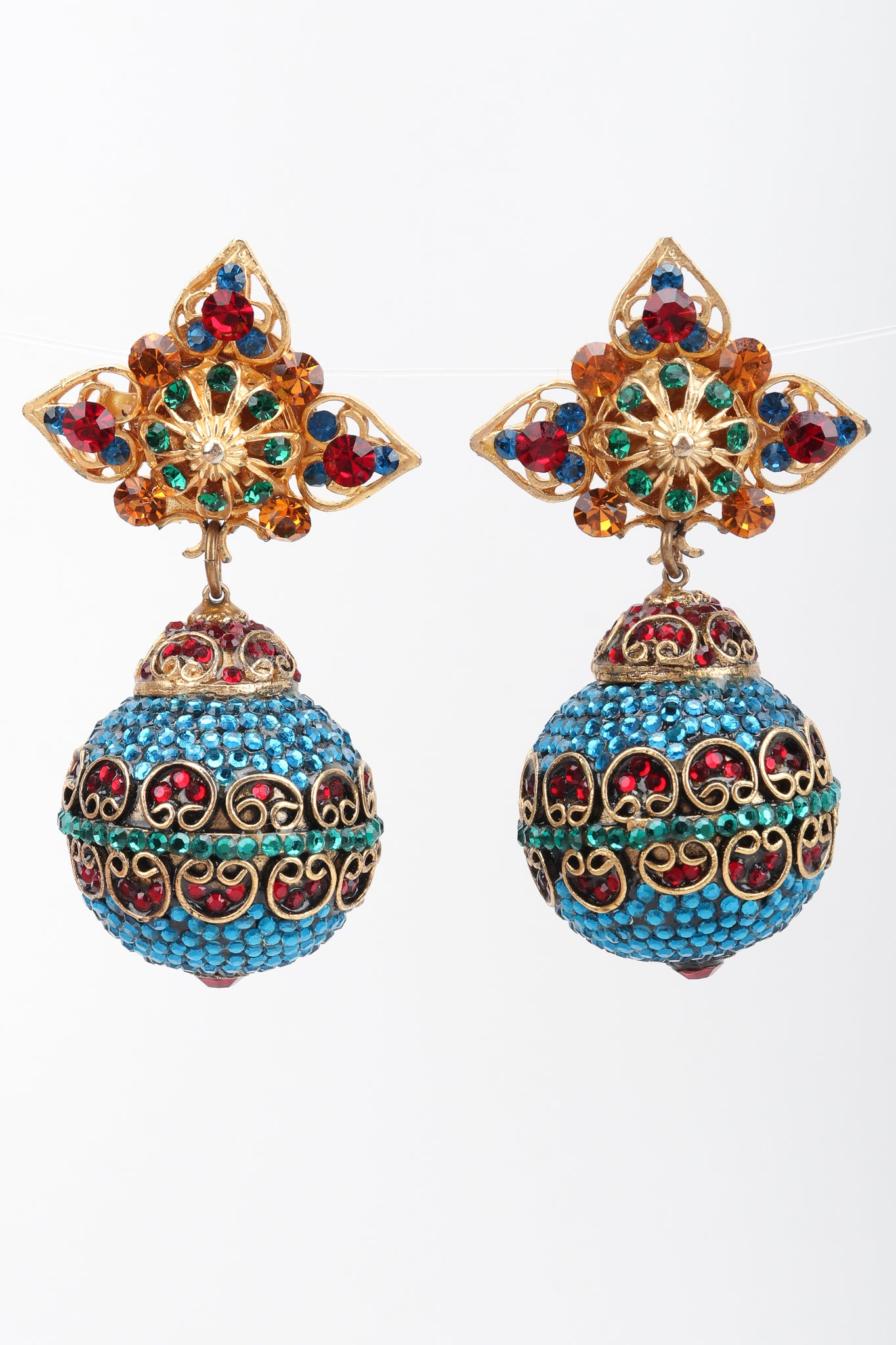 9a2925dae Recess Los Angeles Vintage Arabesque Swarovski Crystal Ball Drop Costume  Clip On Earrings