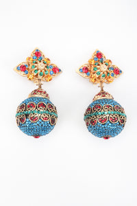 Recess Los Angeles Vintage Arabesque Swarovski Crystal Ball Drop Costume Clip On Earrings