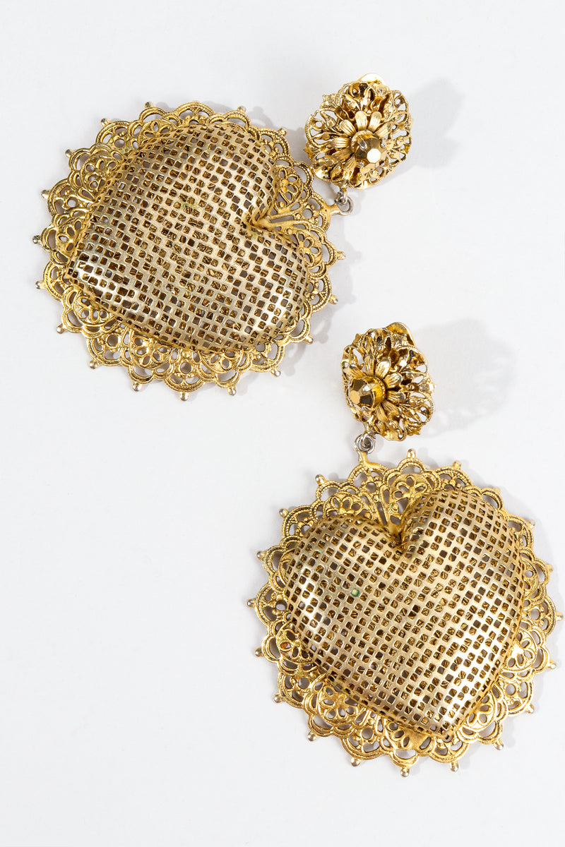 Vintage Perforated Sunburst Heart Drop Earrings at Recess Los Angeles