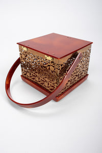 Recess Los Angeles Vintage Asian Inspired Filigree Lucite Square Box Bag