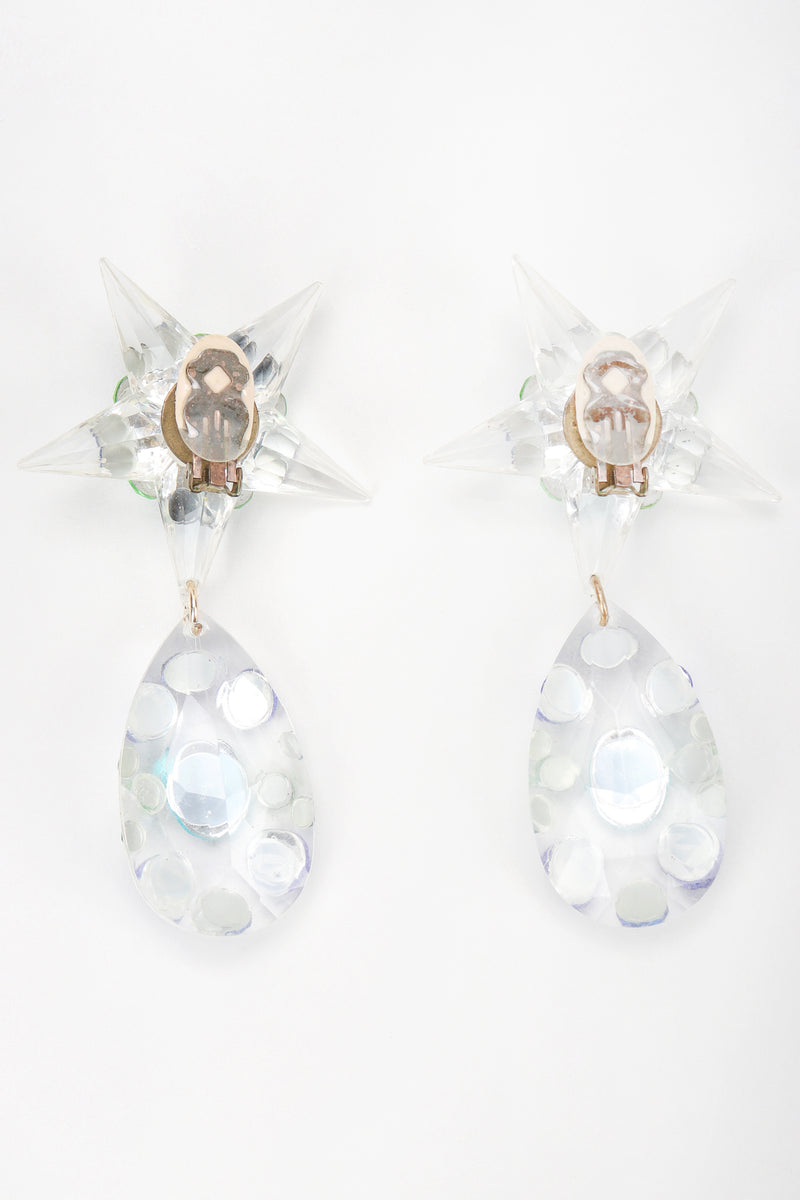 Recess Vintage Unsigned Clear Acrylic Star Teardrop Earrings, Backside