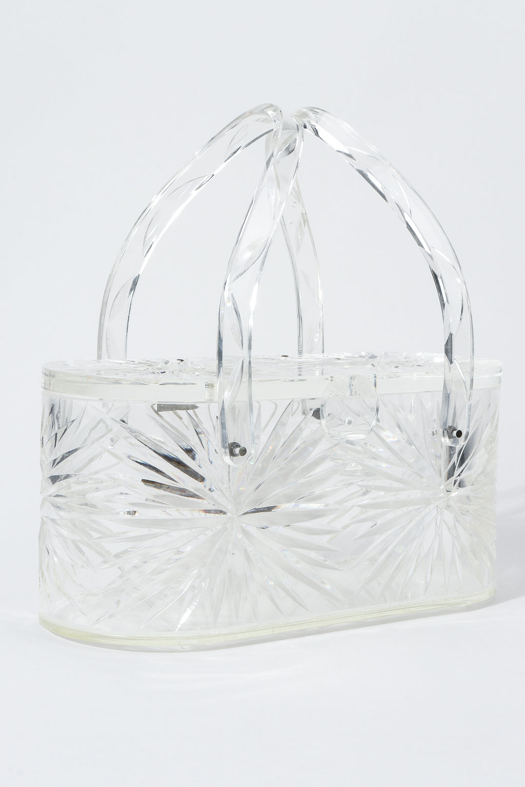 Vintage Wilardy Clear Diamond-Cut Lucite Box Bag Angled at Recess Los Angeles