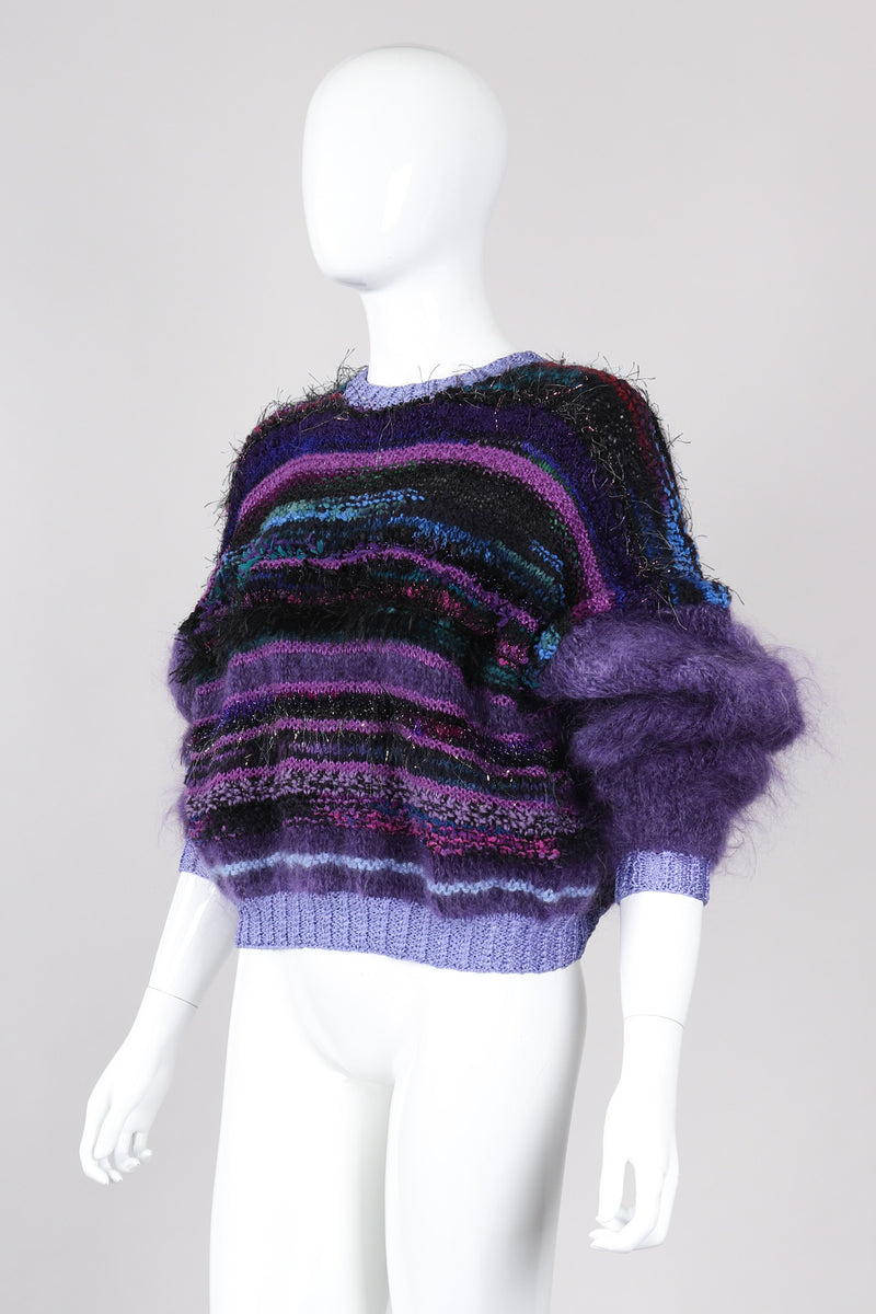 Recess Los Angeles Vintage Textured Knit Mohair Tinsel Boxy Crop Sweater 90s