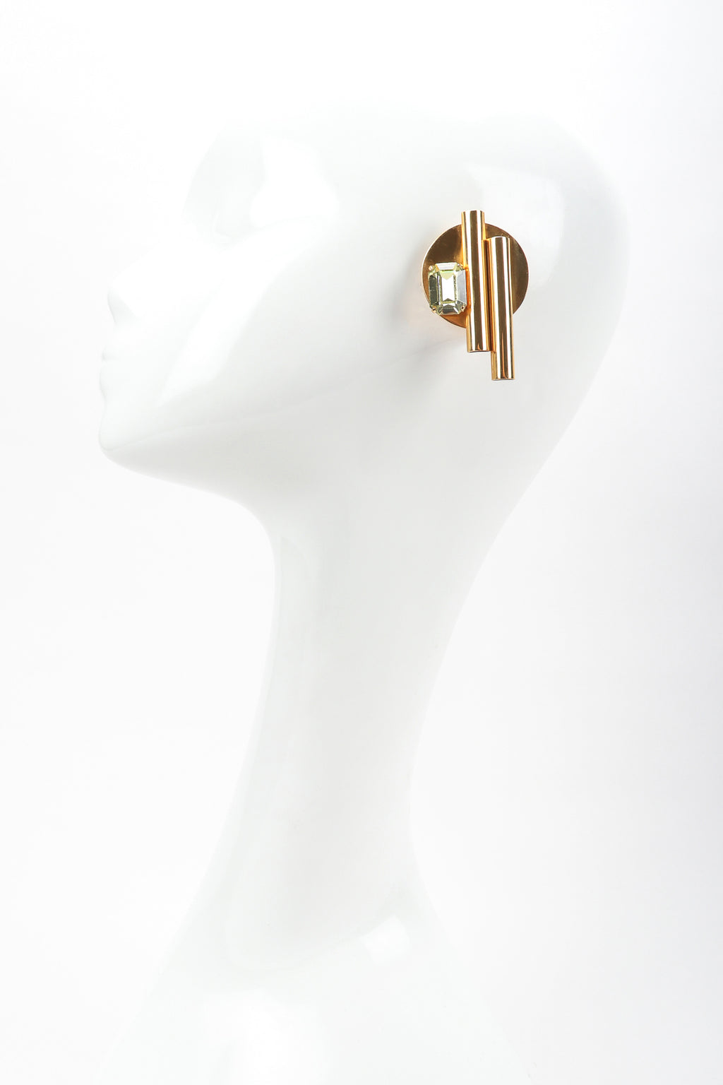 Recess Vintage 80s Gold Geometric Button Earrings on Mannequin