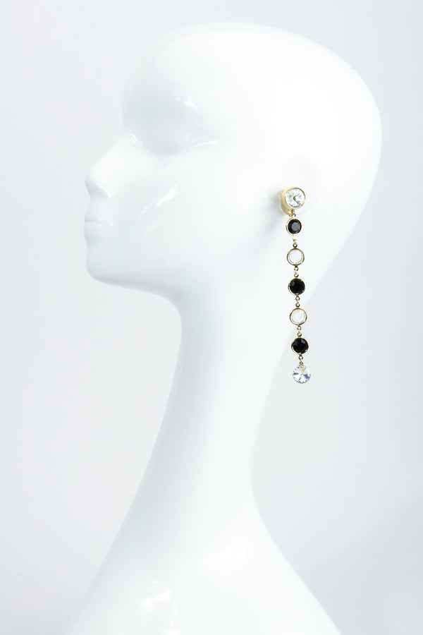 Vintage Unsigned Long Crystal Bezel Drop Earrings on Mannequin at Recess Los Angeles