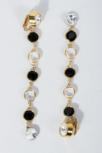 Vintage Unsigned Clear and black Long Crystal Bezel Drop Earrings at Recess Los Angeles