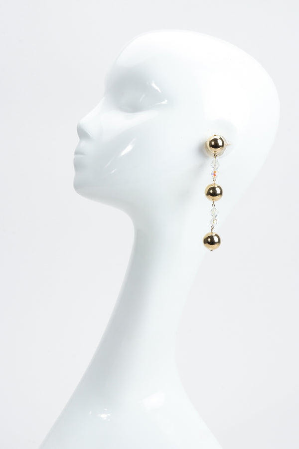 Vintage Long Ball & Crystal Drop Earrings on Mannequin at Recess Los Angeles