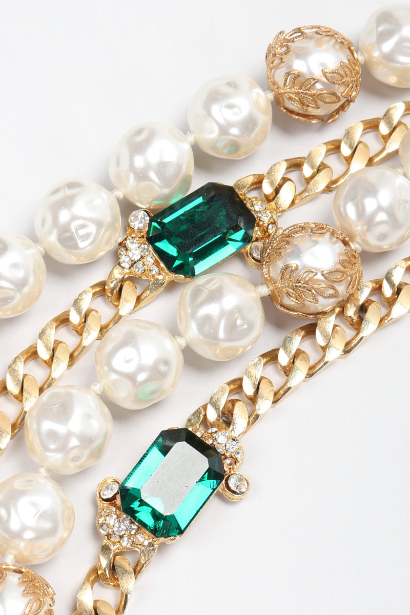 Recess Los Angeles Vintage Mixed Media Multi-Strand Tiered Emerald Pearl Chain Necklace