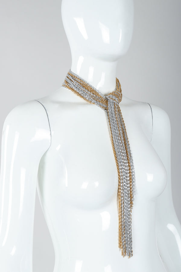 Vintage Unsigned Two-Tone Multi-Strand Chain Shawl Lariat  on Mannequin choker tie at Recess
