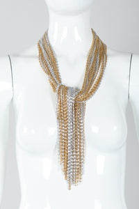 Vintage Unsigned Two-Tone Multi-Strand Chain Shawl Lariat  on Mannequin tied at Recess