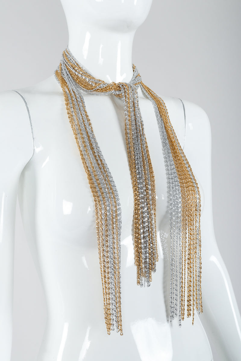 Vintage Unsigned Two-Tone Multi-Strand Chain Shawl Lariat  on Mannequin half tied at Recess