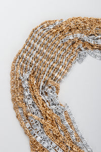 Vintage Unsigned Two-Tone Multi-Strand Chain Shawl Lariat on grey at Recess