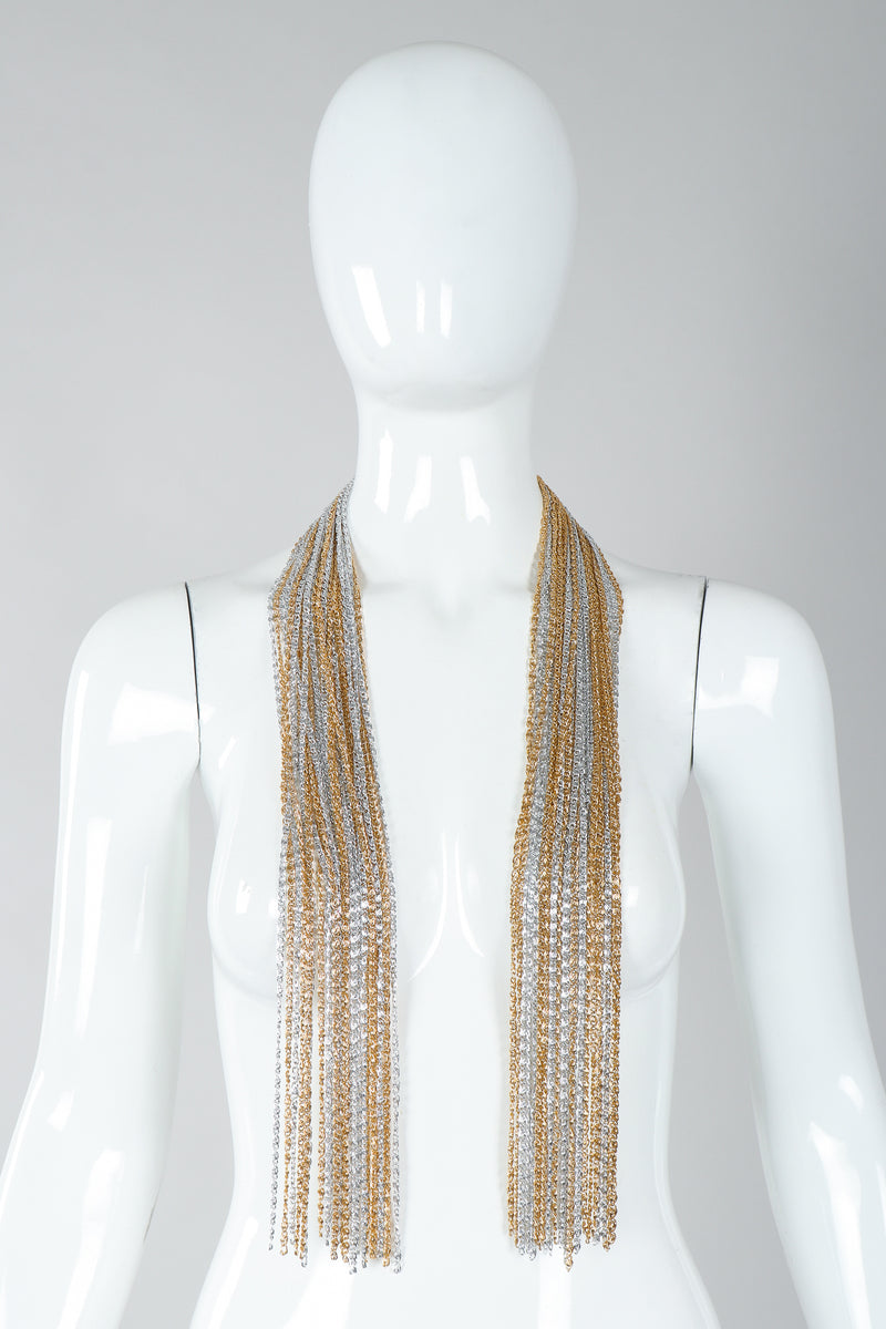 Vintage Unsigned Two-Tone Multi-Strand Chain Shawl Lariat  on Mannequin untied at Recess
