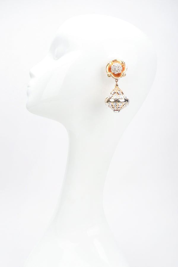 Recess Los Angeles Designer Consignment Resale Vintage Unsigned Art Nouveau Gold Crystal Blossom Drop Earring