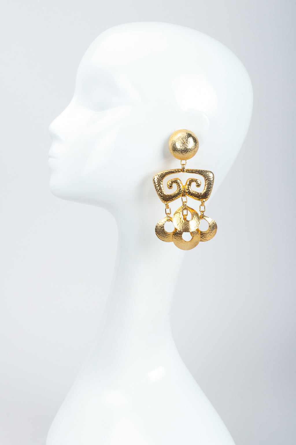 Vintage Brutalist Hammered Gold Chandelier Earrings on Mannequin at Recess Los Angeles