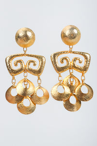 Vintage Brutalist Hammered Gold Chandelier Earrings at Recess Los Angeles