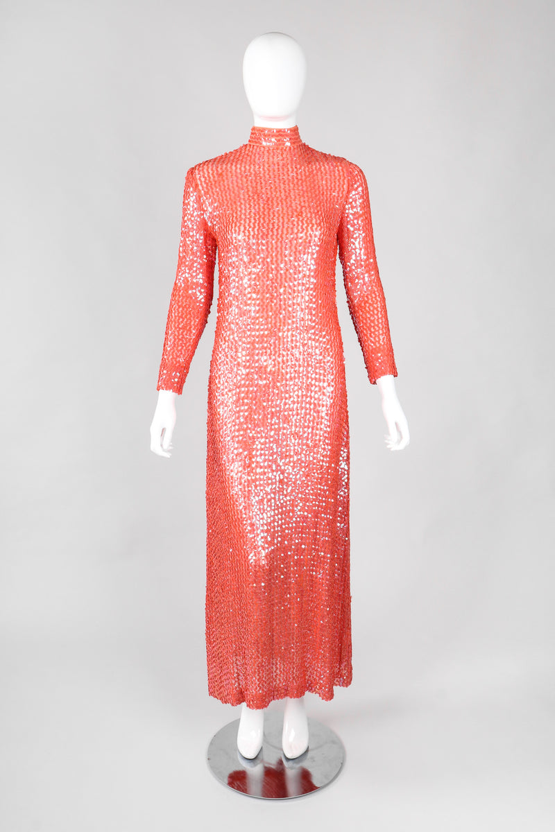 Recess Los Angeles Vintage 60s Sheer Iridescent Sequined High Neck Sheath Column Gown