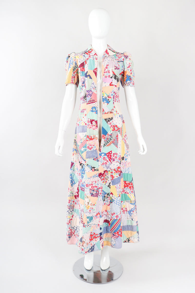 Recess Los Angeles Vintage Designer Consignment Cotton Quilted Patchwork Maxi Dress