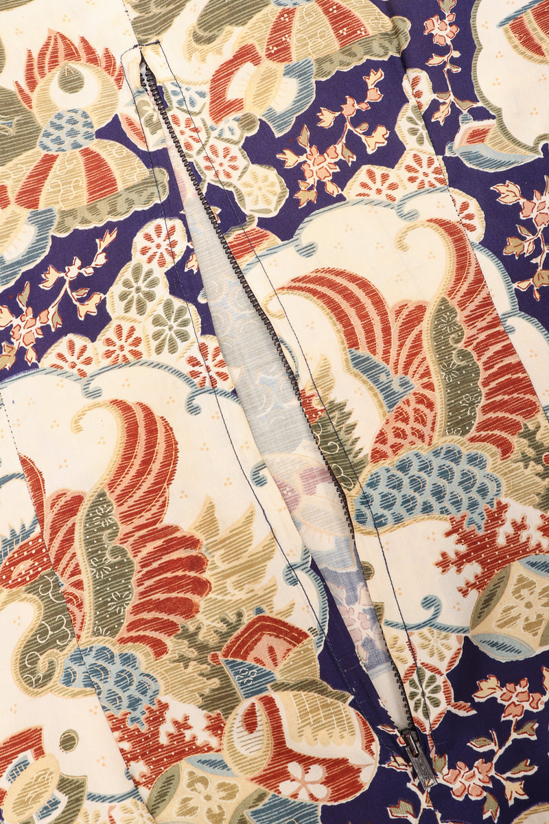 Recess Los Angeles Vintage Japanese Folk Print Silk Kimono Caftan