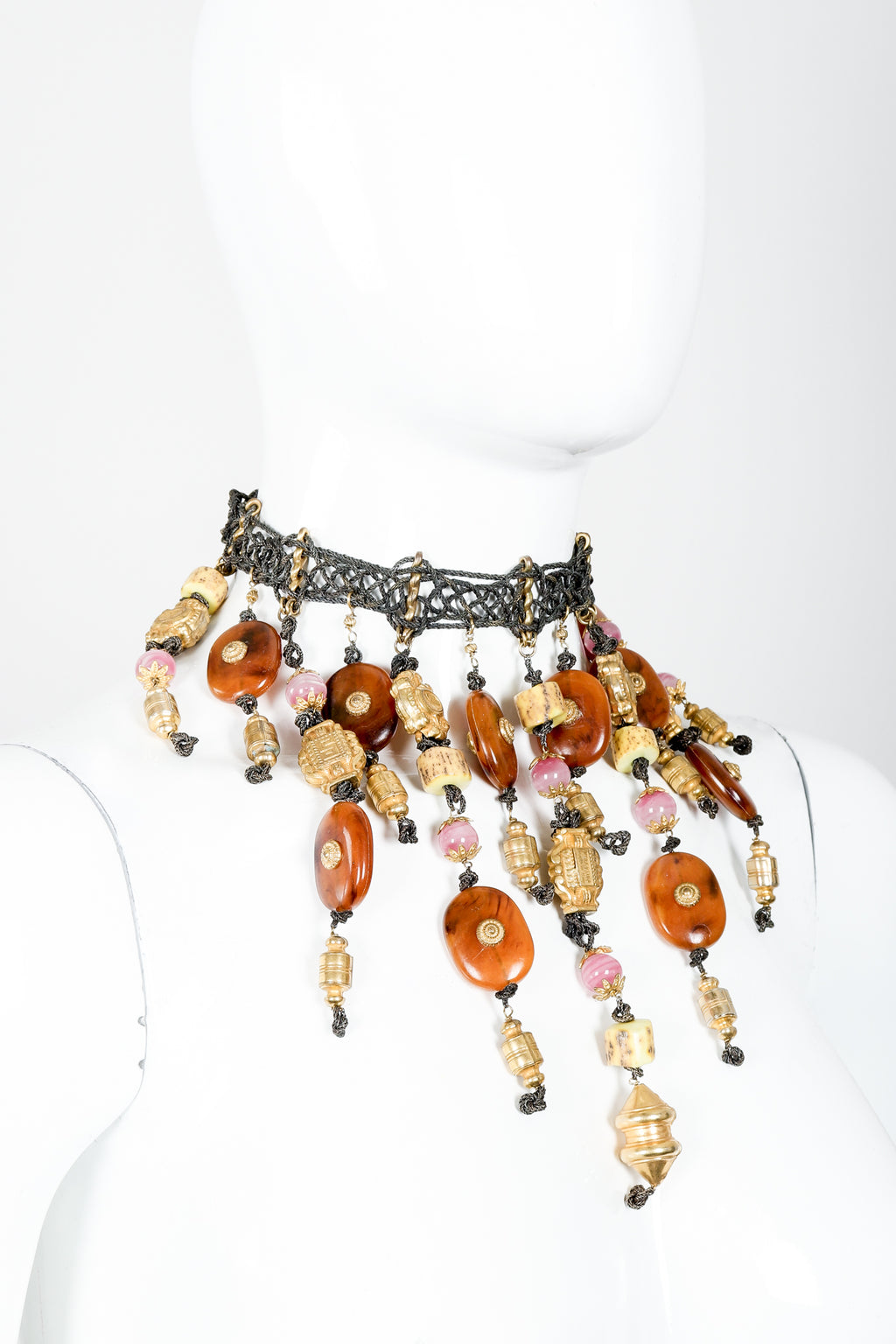 Vintage Valentino Artisan Eastern Bead Waterfall Choker Necklace on mannequin at Recess