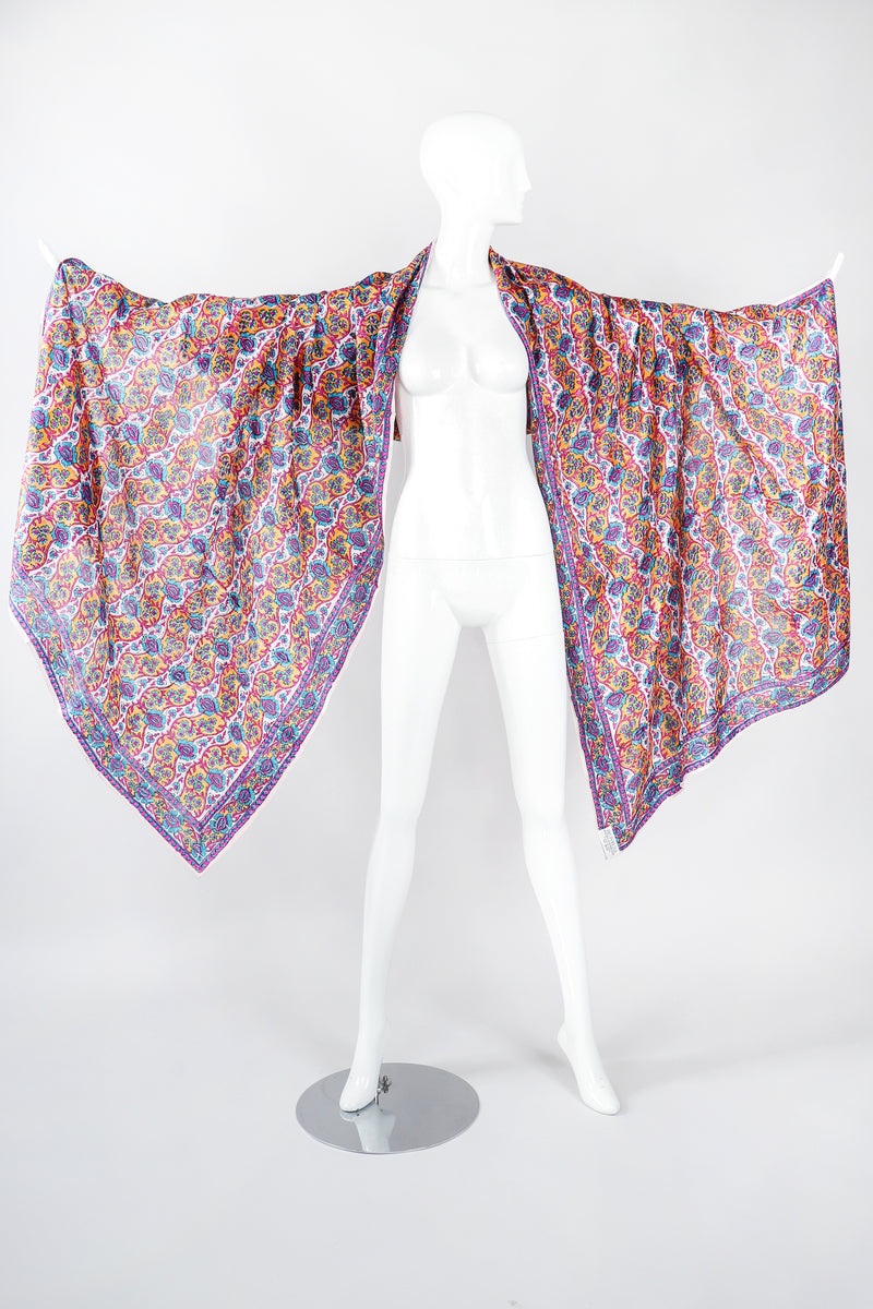 Recess Los Angeles Designer Consignment Vintage Oversized Hand-blocked Bagh Indian Silk Shawl Scarf Sarong