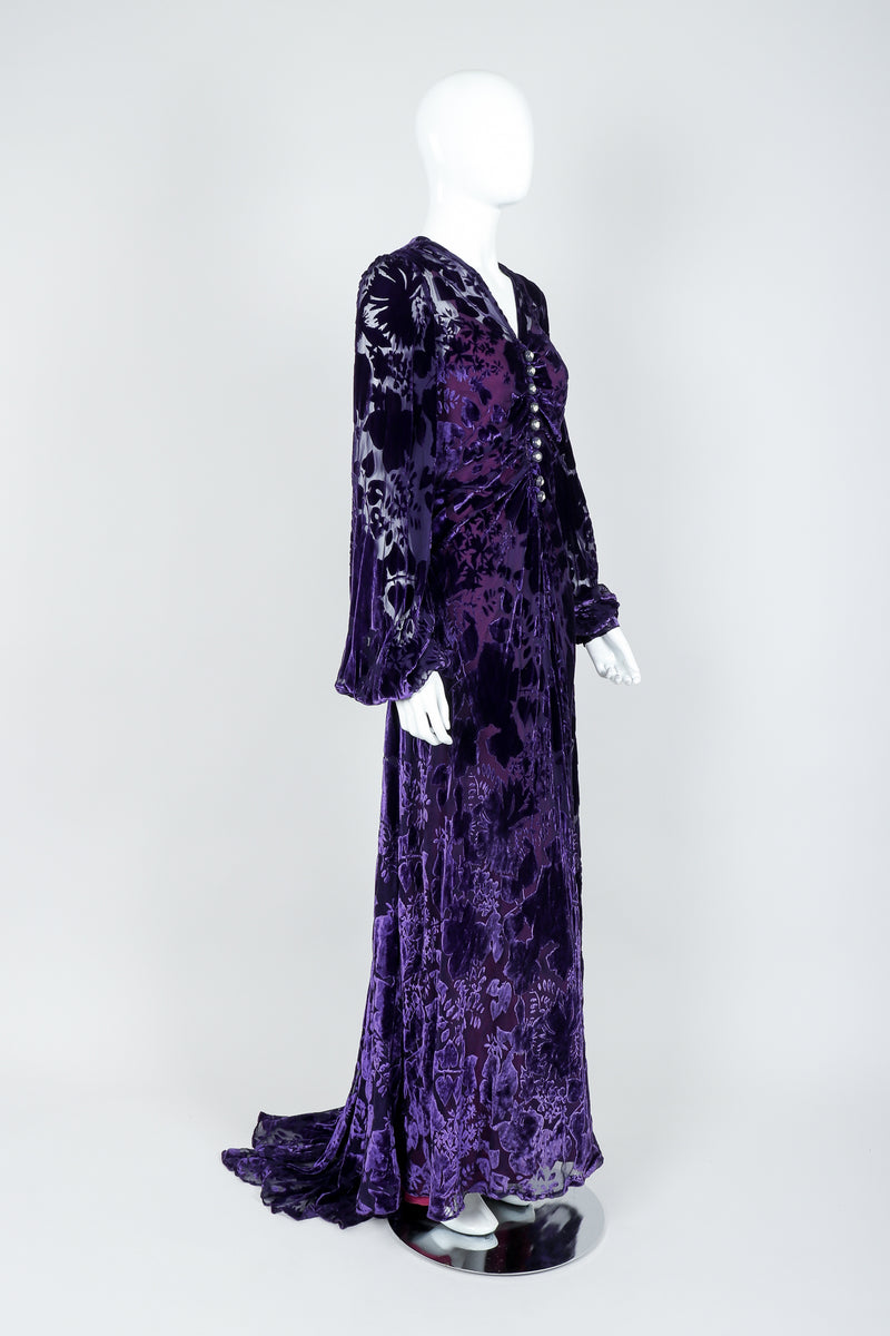 Vintage Sheer Silk Velvet Burnout Gown with Lining Slip on Mannequin, angled view