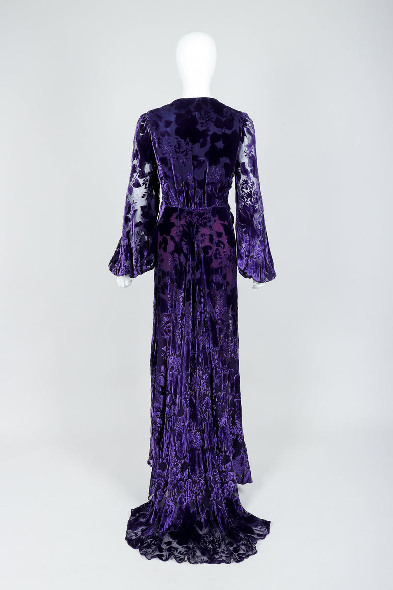 Vintage Sheer Silk Velvet Burnout Gown with Lining Slip on Mannequin, back view