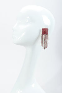Vintage Ruby Rhinestone Fringe Earring on mannequin at Recess Los Angeles