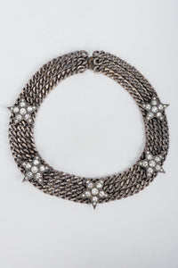 Vintage Unsigned Starry Curb Chain Collar Necklace on Grey