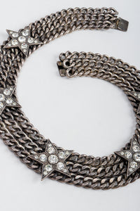 Vintage Unsigned Starry Curb Chain Collar Necklace Swirled on Grey