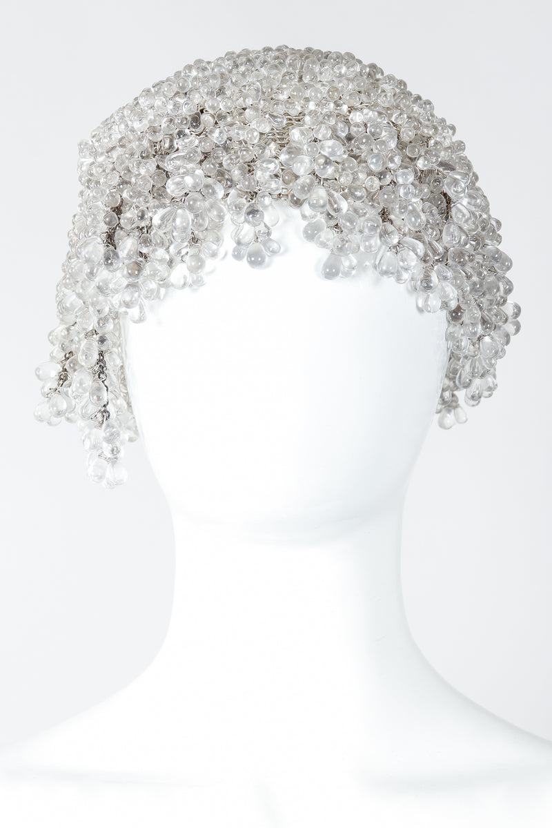 Vintage Crystal Teardrop Beaded Casque Cap on Mannequin Front at Recess Los Angeles