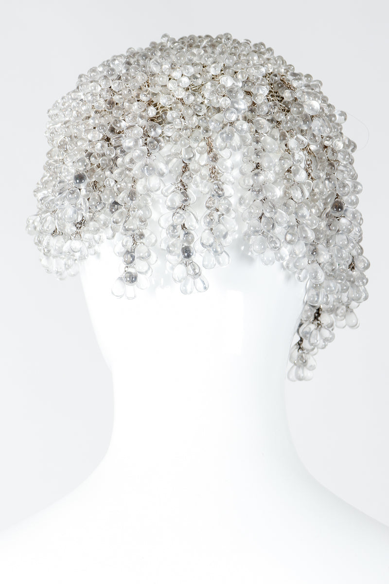 Vintage Crystal Teardrop Beaded Casque Cap on Mannequin Back at Recess Los Angeles
