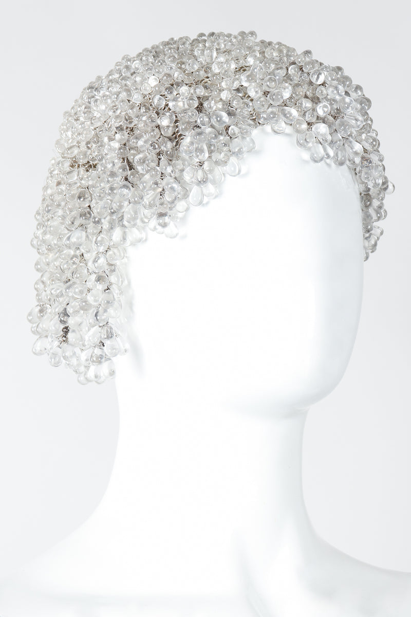 Vintage Crystal Teardrop Beaded Cloche Casque Cap on Mannequin Angled at Recess Los Angeles