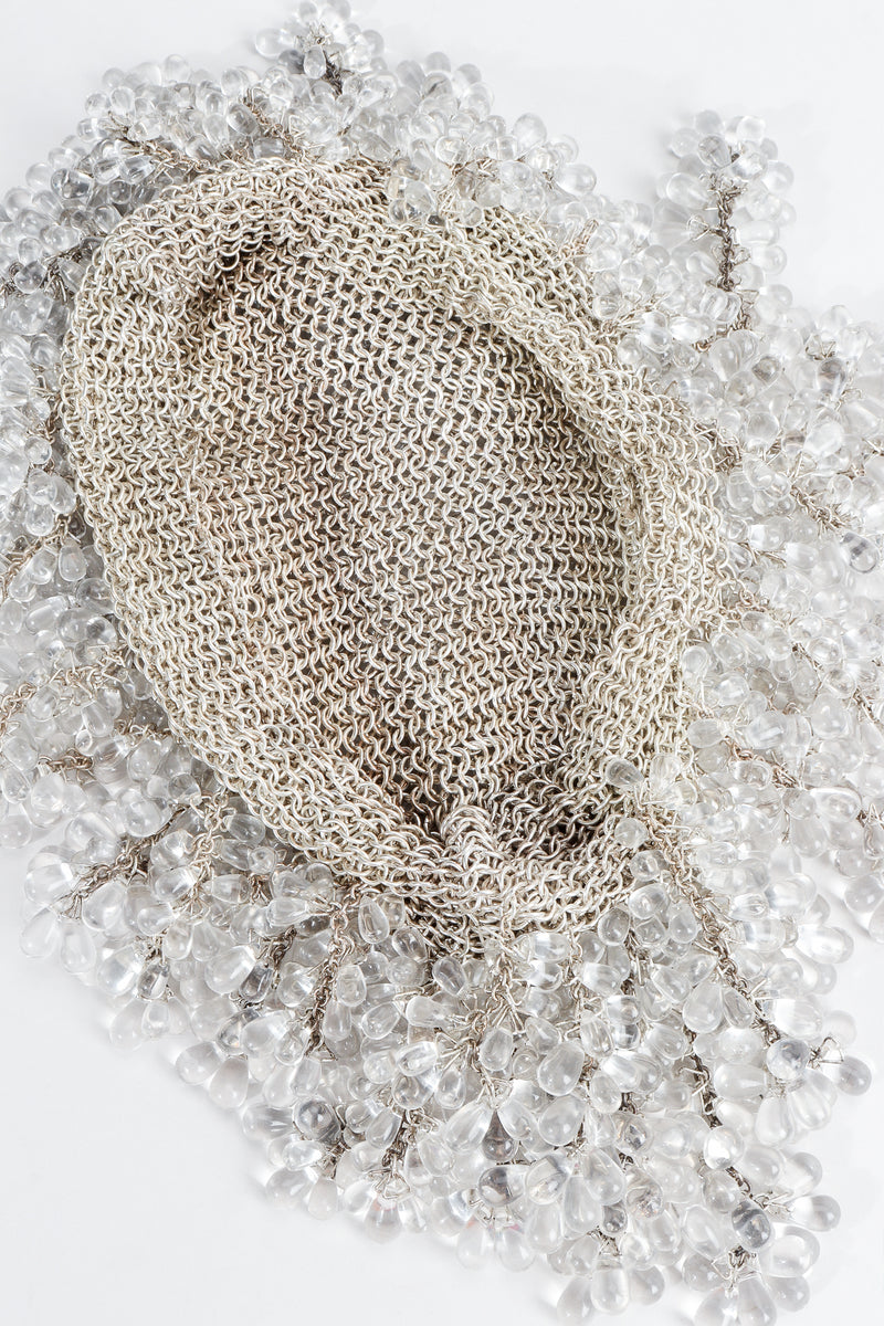 Vintage Crystal Teardrop Beaded Casque Cap Metal Mesh inside at Recess Los Angeles