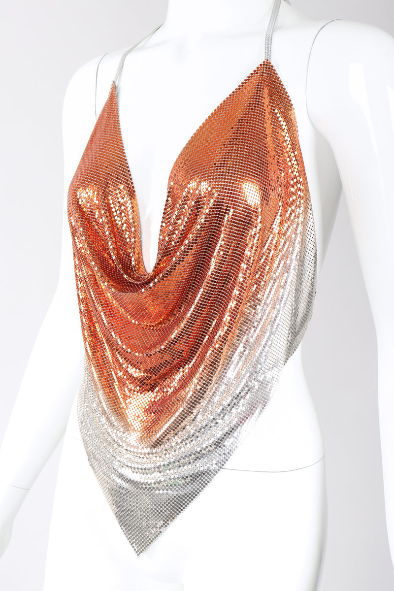 Recess Los Angeles Designer Consignment Vintage Ombre Liquid Metal Mesh Halter Top Whiting Davis