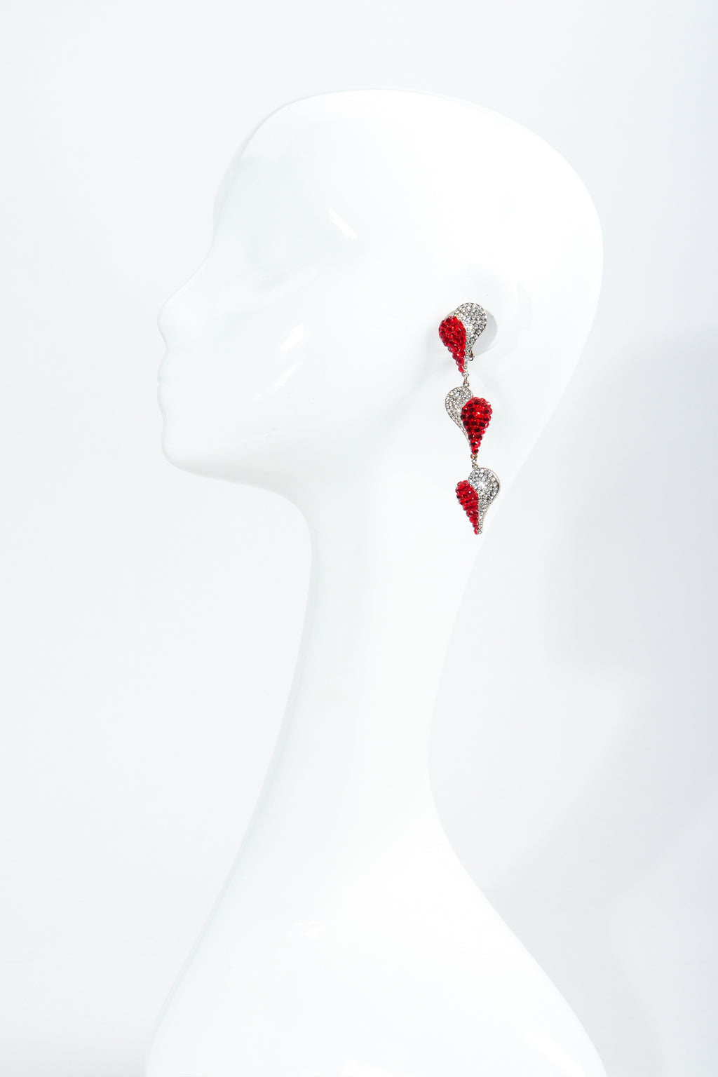 Vintage Unsigned Rhinestone Falling Heart Earrings on Mannequin at Recess