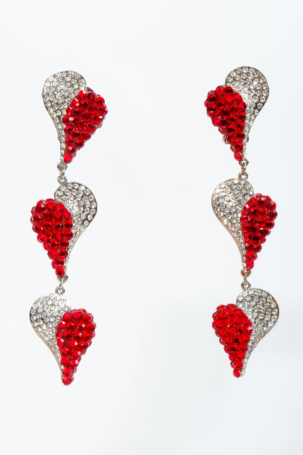 Vintage Unsigned Rhinestone Falling Heart Earrings at Recess